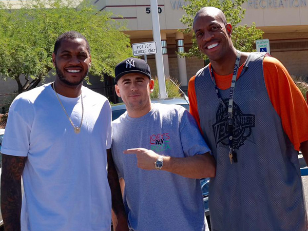 Joey's new york pizza summerlin nevada with Carmello Anthony and John Sally